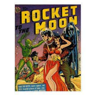 Cartão Postal Rocket à lua cómica