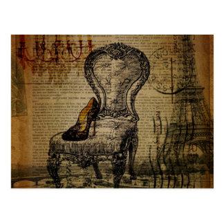 Cartão Postal rococo francês da regência da torre Eiffel de