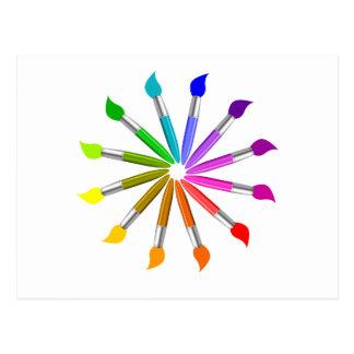 Cartão Postal Roda de cor da escova de pintura, teoria da cor do