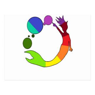 Cartão Postal Roda de cor da sereia
