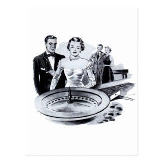 Cartão Postal Roda de roleta de jogo do casino do kitsch do