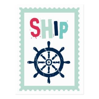 Cartão Postal Roda náutica do navio