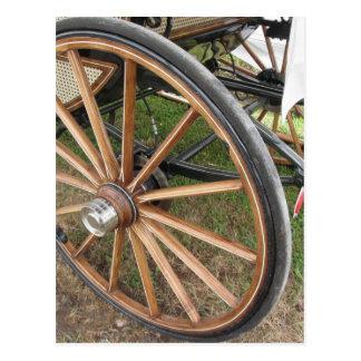Cartão Postal Rodas traseiras da carruagem antiquado do cavalo