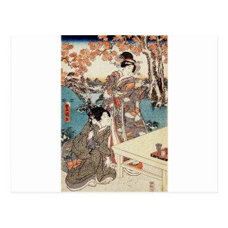 Cartão Postal Rolo velho da gueixa japonesa do ukiyo-e do