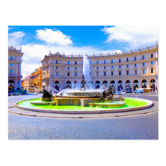 Cartão Postal Roma, Italia - carrossel da fonte fora da praça d