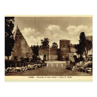 Cartão Postal Roma, pirâmide e porta de St Paul