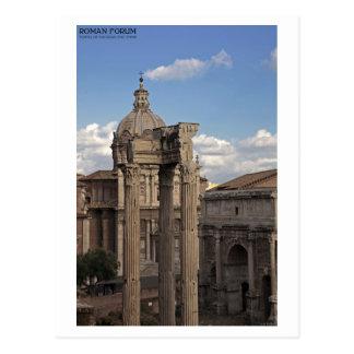 Cartão Postal Roma - templo de Vespasian e de Titus