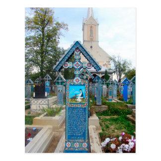 Cartão Postal Romania, Marumures, cemitério alegre, cinzeladura