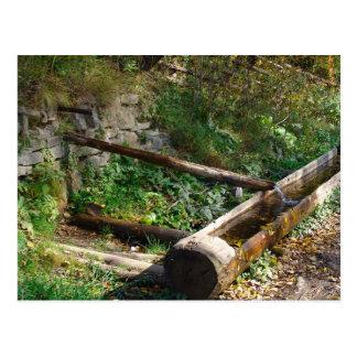 Cartão Postal Romania, Moldova, calha de madeira da água