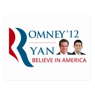 Cartão Postal Romney/Ryan 2012 para o presidente dos E.U. e o VP