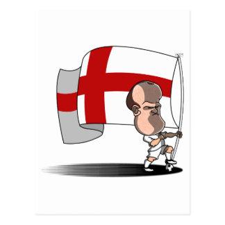 Cartão Postal Rooney com bandeira de INGLATERRA