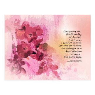 Cartão Postal Rosa da cerca 3 do marmelo da oração da serenidade