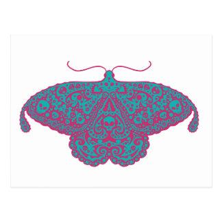 Cartão Postal rosa e turquesa da traça do crânio