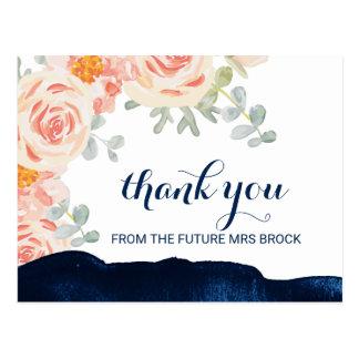 Cartão Postal Rosa floral do pêssego e obrigado da aguarela do