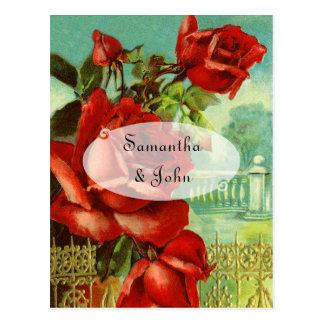 Cartão Postal Rosa vermelha do vintage