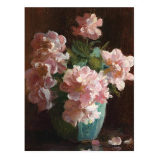 Cartão Postal Rosas cor-de-rosa por Charles Courtney Curran