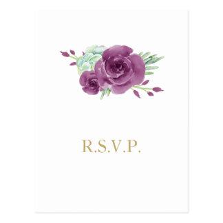 Cartão Postal rosas da ameixa do succulent da aguarela que