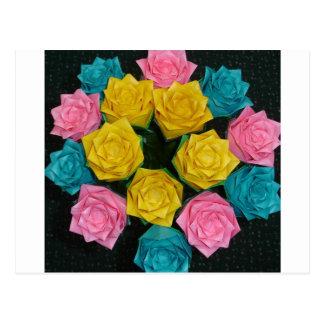 Cartão Postal Rosas de Origami