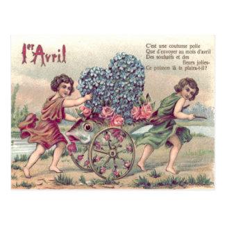 Cartão Postal Rosas do miosótis do carro dos peixes