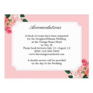 Cartão Postal Rosas do vintage que Wedding acomodações