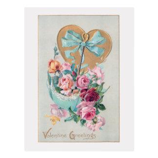 Cartão Postal Rosas e coração românticos dos namorados do