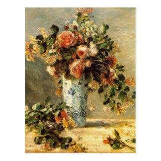 Cartão Postal Rosas e jasmim de Renoir em um vaso de Delft