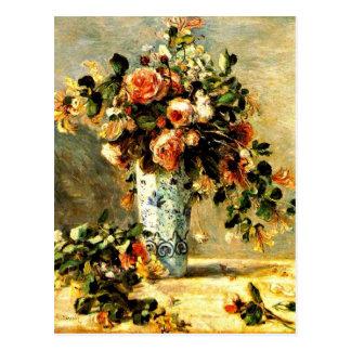 Cartão Postal Rosas e jasmim em um vaso de Delft, pintura de