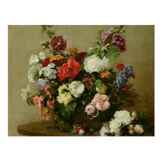 Cartão Postal Rosas e peônias franceses, 1881