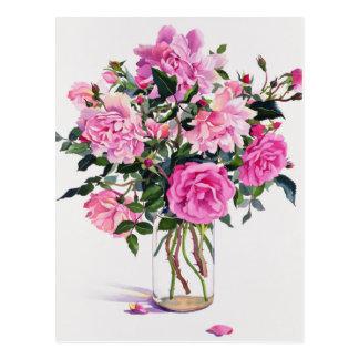 Cartão Postal Rosas em um frasco de vidro