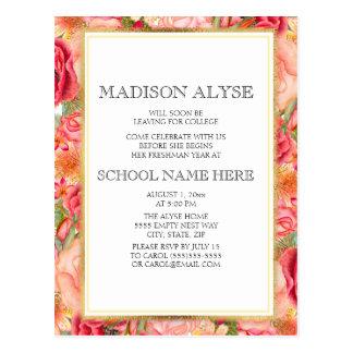 Cartão Postal Rosas rosas vermelha/cartão floral do partido do