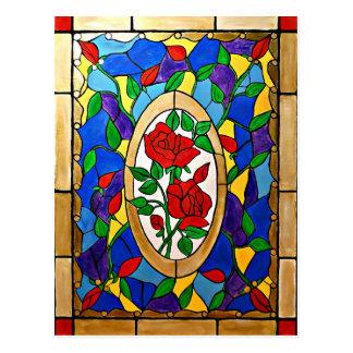 Cartão Postal Rosas vermelhas do vitral