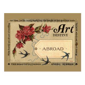 Cartão Postal Rosas vermelhas e pássaros