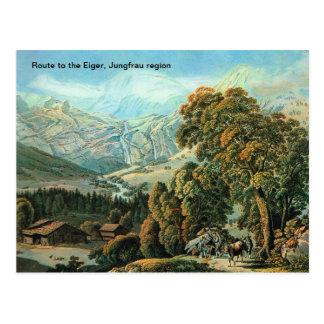 Cartão Postal Rota ao Eiger, região de Jungfrau