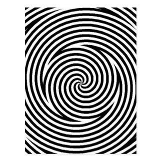 Cartão Postal Rotação branca dos círculos do preto espiral da