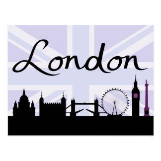 Cartão Postal Roteiro de Londres no céu de Union Jack & locais