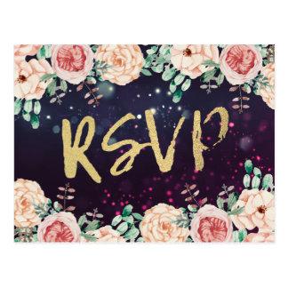 Cartão Postal Roteiro roxo floral chique do ouro da resposta do