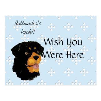 Cartão Postal Rottweiler - azul com design branco do diamante