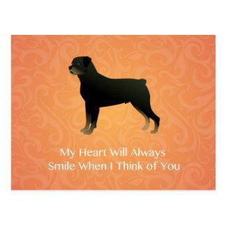 Cartão Postal Rottweiler - pensando de você - memorial do animal