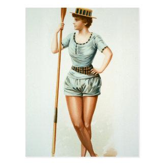 Cartão Postal Rower fêmea do vintage com remo