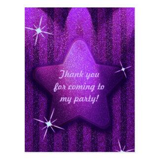 Cartão Postal Roxo Brilho-Como o obrigado do aniversário da