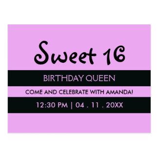 Cartão Postal Roxo da lavanda & aniversário do doce dezesseis