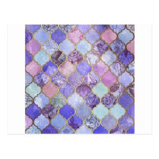 Cartão Postal Roxo e claro - teste padrão marroquino azul do