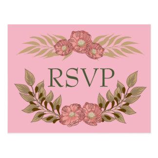 Cartão Postal RSVP cor-de-rosa e verde