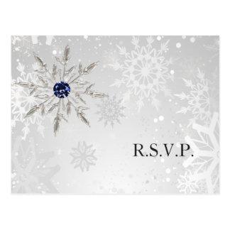 Cartão Postal rsvp de prata do casamento no inverno dos flocos