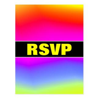 """Cartão Postal """"RSVP"""" + Divertimento colorido Arco-íris-Como o"""
