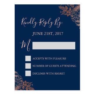 Cartão Postal RSVP - Rosa cor-de-rosa e azuis marinhos do ouro