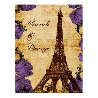 Cartão Postal rsvp roxo do casamento de Paris da torre Eiffel do