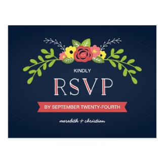 Cartão Postal RSVP Wedding chique | rústico floral bonito