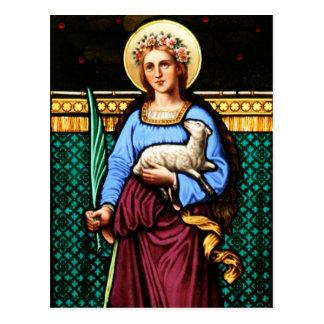 Cartão Postal Rua Agnes de Roma, guardarando o cordeiro e a