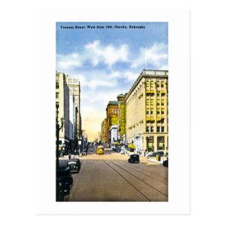 Cartão Postal Rua de Farnam, ocidental do 14o, Omaha, Nebraska